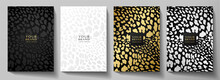 Fashionable Abstract Cover Design Set. Luxury Black, Gold, Silver Background With Leopard Pattern (animal Print). Premium Vector Collection For Brochure, Notebook Template, Menu