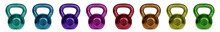 Row Of Kettlebells Isolated On White