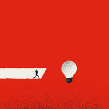 Creativity Business Vector Concept. Man Looking For New Ideas. Symbol Of Brainstorming, Inspiration.
