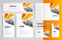 Curves Waves Theme Set Flyer Cover, Tri-fold, Banner, Roll Up Banner, Business Card Yellow Color