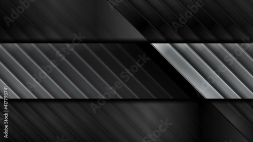 Obraz na plátne Geometric tech black glossy and silver metallic stripes background