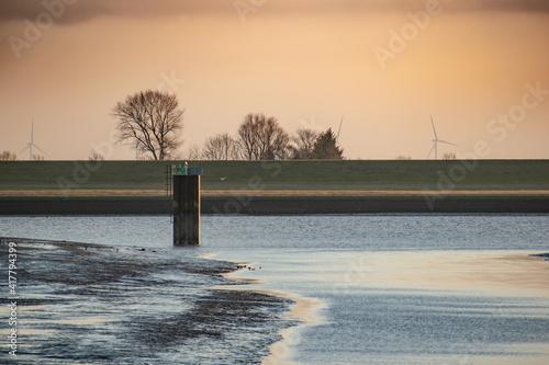 Tablou Canvas Small empty harbor near Emden in Germany