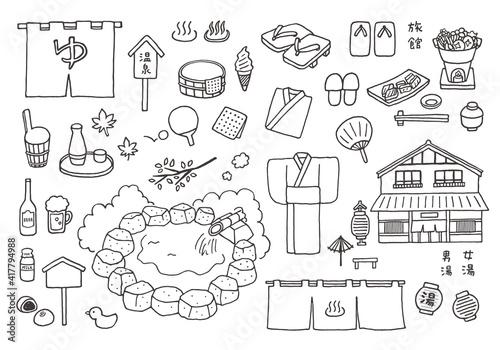 Obraz na plátne 温泉にまつわる手描きイラストセット(モノクロ)