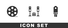 Set Film Reel, Home Stereo With Two Speakers And USB Flash Drive Icon. Vector.