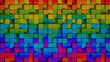 Bright colorful cubes 3D render