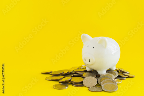 Slika na platnu White piggy with coins thai baht on yellow background, save or investment concept