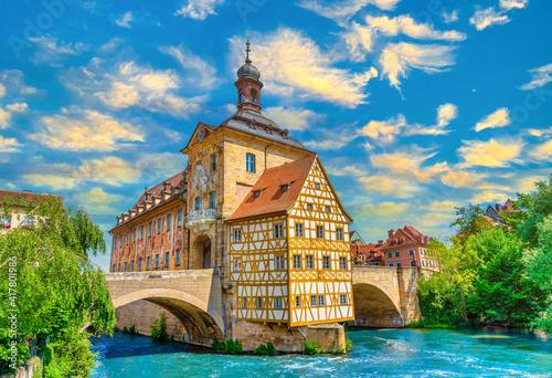 Das alte Rathaus über der Regnitz in Bamberg, Franken, Bayern, Deutschland Fototapet
