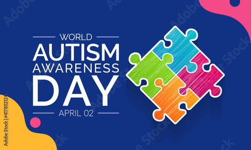 Fényképezés Vector illustration on the theme of World Autism awareness day observed each year on April 2nd across the globe