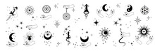 Vector Set Of Mystical And Astrological Symbols And Signs. Magic Linear Silhouettes Isolated On White Background.
