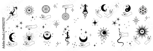 Stampa su Tela Vector set of mystical and astrological symbols and signs