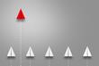 集団から抜け出す一つの紙飛行機、リーダー、ビジネス、ソリューション、アイデア、企画
