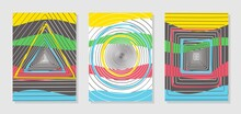 Set Of Three Colorful Posters With Geometric Patterns. Abstract Spiral Lines In The Form Of A Circle, Triangle, Square. Imitation Of Perspective, Tunnel. Multi-colored Yellow, Blue, Green, Red Stripes