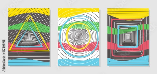 Obraz Set of three colorful posters with geometric patterns. Abstract spiral lines in the form of a circle, triangle, square. Imitation of perspective, tunnel. Multi-colored yellow, blue, green, red stripes - fototapety do salonu