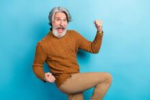 Photo Portrait Of Elder Businessman Happy Crazy Positive Won Lottery Isolated Vibrant Blue Color Background