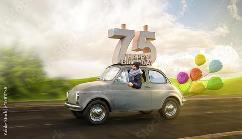 Fotografering Geburtstagsauto Happy Birthday 75