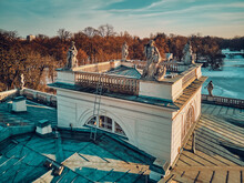 Beautiful Panoramic Aerial Drone View Of The Palace On The Isle (Polish: Palac Na Wyspie), Also Known As Baths Palace (Polish: Palac Lazienkowski), Is A Classicist Palace In Warsaw's Royal Baths Park