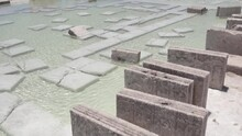 Bricks Of Rock Salt Standing On Their Edges At The Site Of Salt Mining At Salar De Uyuni, Bolivian Highlands.