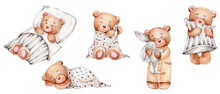 Set Of Cute Teddy Bears With Pillows; Watercolor Hand Drawn Illustration; Can Be Used For Baby Shower Or Postcards; With White Isolated Background