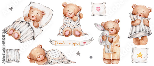 Photo Set of cute teddy bears, pillows and lettering good night; watercolor hand dra