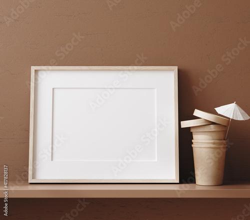 Obraz Mock up frame close up on shelf near brown wall, 3d render - fototapety do salonu