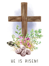 Easter Christian Cross With Green Ferns, Eggs And Feather,