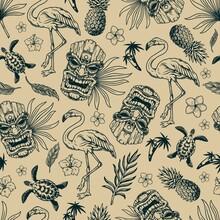 Tropical Hawaiian Vintage Seamless Pattern