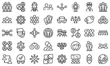 Crew Icons Set. Outline Set Of Crew Vector Icons For Web Design Isolated On White Background