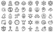 Spiritual Practices Icons Set. Outline Set Of Spiritual Practices Vector Icons For Web Design Isolated On White Background