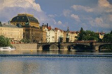 The National Theatre And Houses Along The Vltava River, Prague, Czech Republic, Europe