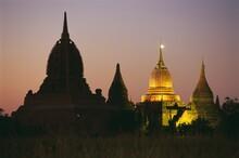 Ancient Temples And Pagodas At Dusk, Bagan (Pagan), Myanmar (Burma), Asia