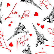 Fashion Seamless Pattern. Bonjour Paris. Pattern With Original Calligraphic Fonts, Sketch Eiffel Tower And Heart. For  Fashion Clothes, T Shirt, Child, Wrapping Paper. Creative Girlish Design