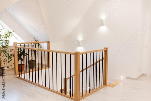 Fototapeta Wood staircase inside contemporary white modern house. obraz na płótnie