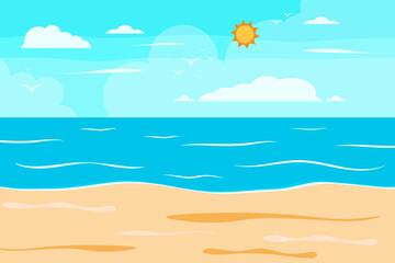 Fototapeta na wymiar Cartoon summer beach, seaside natural vacation, tropical beach, seaside scenery background vector illustration