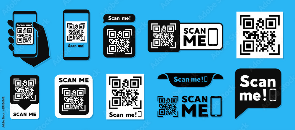 Fototapeta Scan QR code flat icon with phone. Barcode. Vector illustration.
