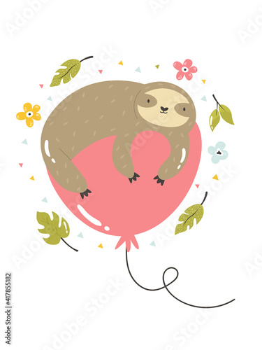 Fototapeta premium Funny poster with tropical leaves and sloth lying on a balloon