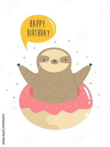 Fototapeta premium Cute sloth jumping of donut. Vector illustration of a funny animal.