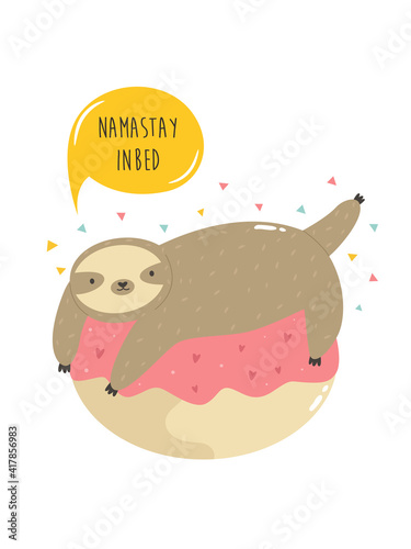 Fototapeta premium Cute sloth on a donut. Vector illustration of a funny animal