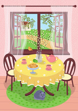 Spring Village Rest Scene Eps Poster. Country House Interior. Outside Open Window Through Tree Foliage Springtime Field And Warm Pleasant Day. Cat Under Table. Tea Set. In Glass Vase Willow Branches