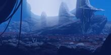 Futuristic Scenery. Alien Planet. Science Fiction Theme. Colorful Artistic Landscape. 2d Illustration.
