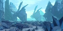 Futuristic Concept Art. Alien Planet. Science Fiction Theme. Colorful Artistic Landscape. 2d Illustration.