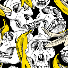 Seamless Pattern With Image Of A Skull Monkey And Yellow Skin Banana On A Black Background. Vector Illustration.