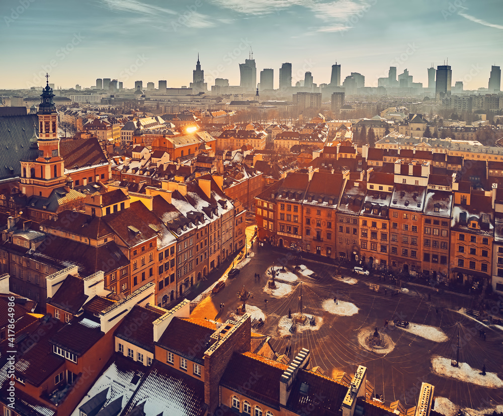 Fototapeta Beautiful panoramic aerial drone skyline sunset view of the Warsaw City Centre with skyscrapers of the Warsaw City and Warsaw's old town with a market square and a mermaid statue, Poland, EU