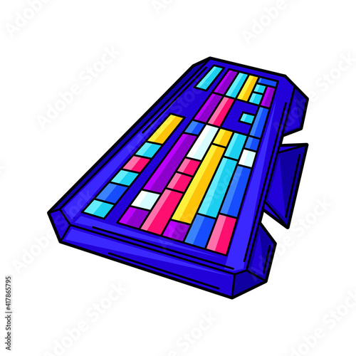 Illustration of gaming keyboard. Cyber sports, computer games, fun recreation. © incomible