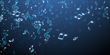 Musical Notes Flying Vector Wallpaper. Audio