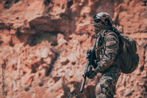 Fototapeta Soldiers of special forces on wars at the desert,Thailand people,Army soldier Pa