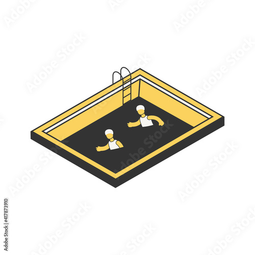 Fototapeta Isometric Pool Sportsmen Composition obraz