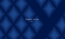 Geometric Background Or Presentation Slide Cover With Romb Shapes Forming Texture, Deep Dark Blue Color