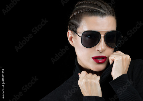 Fototapety, obrazy: Close up portrait of fashion woman with braided dark hair and red lips wearing stylish sunglasses