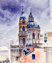 Watercolor Picture Depicting St. Nicholas Church In Prague In Winter With Falling Snow