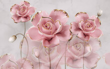 3d Wall Background Decorative Pink Roses